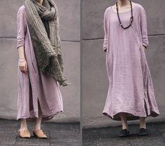 Pink women dress Cotton Linen women dress Long by fashiondress6
