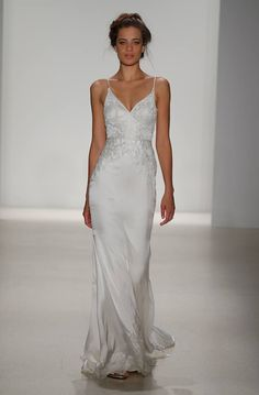 Straight off the runway. | Bianca by KELLY FAETANINI | SS 2018 | Silk Stretch Satin V-Neck Fit to Flare Gown with Ivory Embroidered Bodice | #Engaged #WeddingDress #WeddingGown