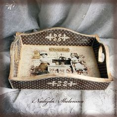 Who Moves Furniture For Carpet Installations Decoupage Wood, Decoupage Furniture, Decoupage Vintage, Painted Furniture, Painted Trays, Altered Boxes, Gifts For Office, Tray Decor, Painting On Wood