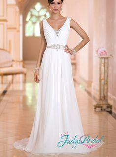 JW15015 sexy grecian v neck keyhole back chiffon sheath wedding dress