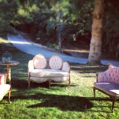 Vintage lounge furniture from Archive Rentals    Amphitheatre of the Redwoods at Pema Osel Ling   Wedding and Event Venue   Santa Cruz Mountains, CA   Redwood Forest Wedding