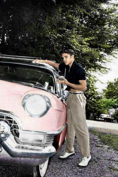 Elvis Presley - Washing The Famous Pink Cadillac He Bought For His Mother Gladys.