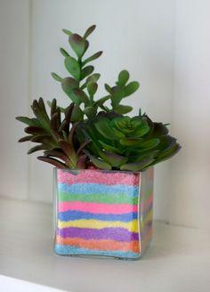 DIY Sand Art Succulent Planter - A Little Craft In Your DayA Little Craft In Your Day