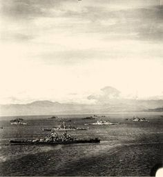 Sagami Wan, Japan. Warships of the U.S. Third Fleet and the British Pacific Fleet in Sagami Wan, 28 August 1945, preparing for the formal Japanese surrender a few days later. Mount Fujiyama is in the background. Nearest ship is USS Missouri (BB-63), flying Admiral William F. Halsey's four-star flag. British battleship Duke of York is just beyond her, with HMS King George V further in. USS Colorado (BB-45) is in the far center distance. Official U.S. Navy Photograph