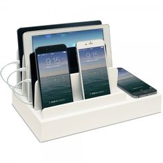 Charging Desk Organizer with Wireless Smart Charging Pad + 6-USB Ports