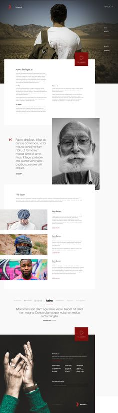 Refugee - About page Ui design concept by Leigh Taylor.