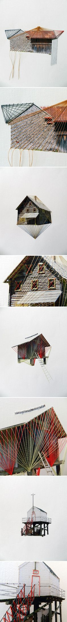 Lonely Houses series by Hagar Vardimon-van Heummen - thread on paper http://www.happy-red-fish.com/art/lonley-houses/