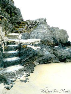 Rock steps on the beach, Abersoch, Wales, Uk.