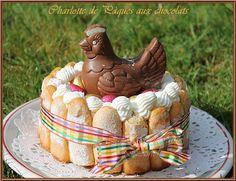 """Charlotte de Pâques aux chocolats Dessert de Pâques pour une fois au chocolat (rare chez moi, pas très """"chocolatomane"""" Amél..."""