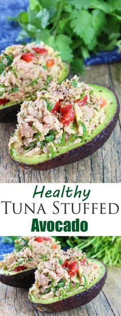 This healthy tuna stuffed avocado is full of southwestern flavors with tuna, red bell pepper, jalapeno, cilantro, and lime. #vegetarian