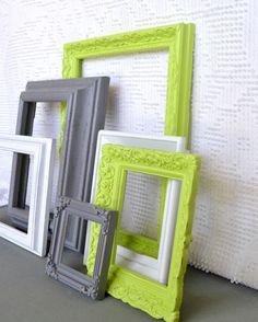 Lime Green, Grey White Ornate Frames Set of 6 - Upcycled Frames Modern Bedroom Decor. $48.00, via Etsy.