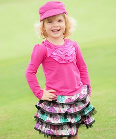 Ivory & Pink Haiku Ruffle Skirt - Infant, Toddler & Girls | zulily