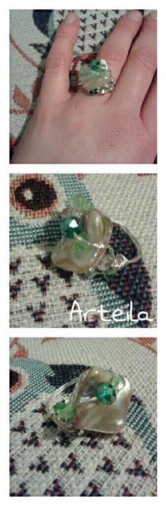 Green stones Rings Diy craft by ARTEILA