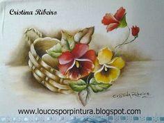 Como pintar cesto de amor perfeito com folhas envelhecidas. Primeira par...