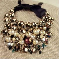 Min.order is $10 (mix order+gift)Han-edition large tracts of Europe andUSA wind luxury precious stone and pearl collar necklace US $16.82