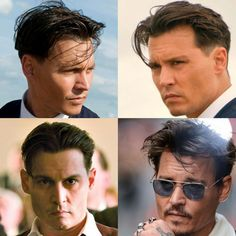 Johnny Depp's hairstyles are as iconic and well-known because the actor himself. Often called probab Johnny Depp Public Enemies, Pompadour, Johnny Depp Hairstyle, Quiff Hairstyles, Hairstyle Men, Hairstyles 2018, Funky Hairstyles, Formal Hairstyles, Comb Over Haircut