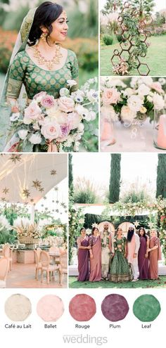 This Couple Planned a Colorful Indian Wedding in San Miguel, Mexico Brighten up your day with this green and purple color palette Indian Wedding Theme, Indian Wedding Decorations, Indian Wedding Flowers, Unique Wedding Colors, Pink Wedding Colors, Stage Decorations, Trendy Wedding, Boho Wedding, Rustic Wedding