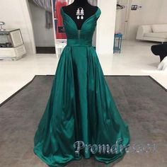 Long prom dress, ball gown, elegant v-neck green satin evening dresses with straps