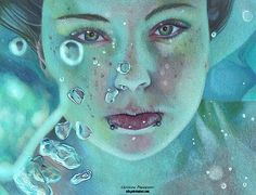 Realistic Portrait by Christina Papagianni, color pencil drawing. Eric Zener, Underwater Drawing, Schrift Tattoos, Hyper Realistic Paintings, Color Pencil Art, Ap Art, Pencil Portrait, Portrait Art, Drawing People