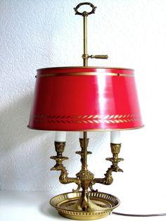 Antike Bouillette Tischlampe mit Adler Dekor 19. Jh.