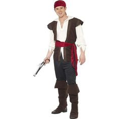 Swashbuckler Pirate Man ($23) ❤ liked on Polyvore featuring costumes, white pirate costume, holiday costumes, adult costume, captain costume and adult pirate costumes