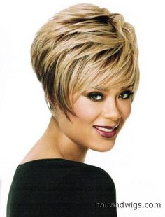 Stacked Bob  by Luxhair  playful short shape with wispy face-framing swept bangs features a lot of texture $99.00  www.hairandwigs.com