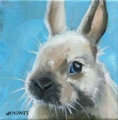 "KYLE BUCKLAND JENN COUNTS FARM ART RABBIT BUNNY  ANIMAL OIL PAINTING A DAY Impressionism FINE ART WALL ART DECORATION HOME OFFICE DECOR INTERIOR DECOR SPRING EASTER BUNNY COLLECTIBLE "" Benjamin "" 6""x6"""