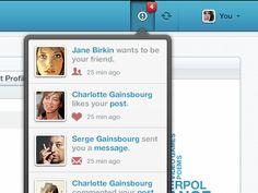 Dribbble - Feed popup by Gadzhi Kharkharov Charlotte Gainsbourg, Serge Gainsbourg, Jane Birkin, Popup, Ui Design, Pattern Design, Artworks, Calendar, Menu