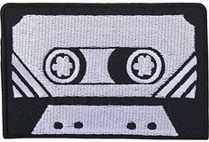 Black Grey Retro Cassette Tape Embroidered Iron / Sew On Patch T Shirt Bag Badge Size cm Width and cm Height. How to Iron on a Patch Lay your cloth on a Bag Badges, Star Illustration, Sew On Patches, Kawaii Cute, Sticker Paper, Cassette Tape, Cute Art, Shirt Bag, Black And Grey
