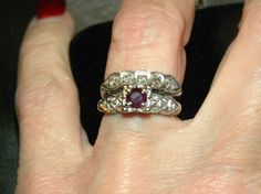 Vintage Ruby and Diamond Wedding Ring Set by VintiqueVillage