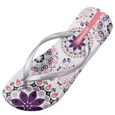 884d34aa42d838 Fashionable flip-flop featuring non-slip textured padded footbed with floral  pattern and embossed slender logo-stamped thong straps Bouncy