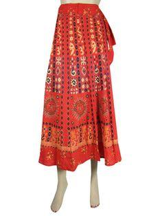 vintage batik wrap around skirt hippie maxi skirt with