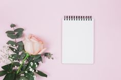 Blank spiral notepad with rose and gypsophila flower against pink background Free Photo Cherry Blossom Background, Pink And White Background, White And Pink Roses, Textured Background, Pink Petals, Purple Flowers, Watercolor Background, Floral Watercolor, Gypsophila Flower