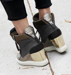 Giuseppe Zanotti metallic wedge sneakers, Rick Owens cropped leather jacket, Calvin Rucker slinky trousers and Raquel Allegra tank - The epitome of California laid back cool.
