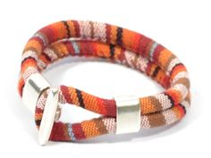 orange fabric bracelet  aztec bracelet  orange by CozyDetailz