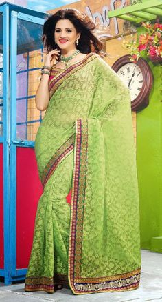 $89.93 Green Embroidered Jacquard Saree 25755