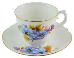 Tea Set for Six in Blue Vintage Irish Arklow Porcelain
