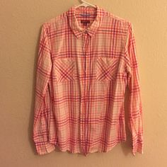Button down blouse *Not actually Anthro. Just labeled for visibility.* Gently worn with no defects. Different shades of pink and white make up the pattern. Anthropologie Tops Button Down Shirts