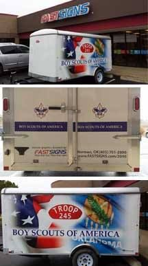 FASTSIGNS of Norman donated the design and installing of this Boy Scout trailer wrap, which was donated to the troop by a local couple after the troupe had theirs stolen.