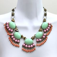 Multicolor Green Coral Colors Necklace. Beautiful Statement necklace with 5 clusters of pastel gemstones resembling flowers. One if pink gemstones is missing in one side. You can probably replace it with a different color gemstones for each middle cluster and voila! #spring Unbranded Jewelry Necklaces