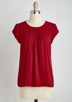 Charmer in Charge Top in Red - Red, Solid, Work, Minimal, Cap Sleeves, Winter, Woven, Good, Scoop, Mid-length
