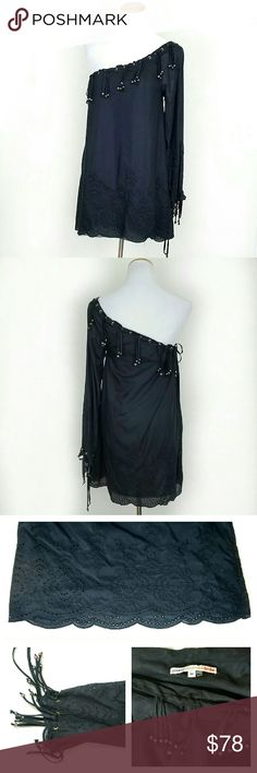 YBF One Shoulder Fringe Tunic YBF One Shoulder Fringe Tunic. Iridescent beads, fringe at neckline & cuff. Eyelet details at cuffs & hem. Drawstring at neckline and cuff. 70% Cotton, 30% Silk. EUC.  Bust 18 Length 31  No Trade or PP Bundle discounts Offers Considered Young Fabulous & Broke Tops