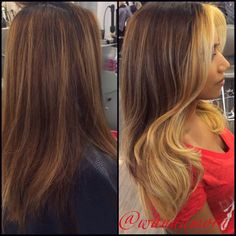 Before and after blonde and brown balayage by Wanda Mora 856-751-2233
