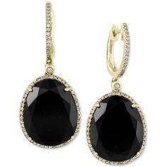 Eclipse by Effy Black Onyx (11-3/8 ct. t.w.) and Diamond (1/3 ct. (11.960 NOK) ❤ liked on Polyvore featuring jewelry, earrings, yellow gold, black onyx diamond earrings, 14 karat gold earrings, gold earrings, diamond drop earrings and diamond earrings