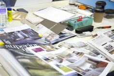 Materials on the desk during Interior Decoration and Styling. Photograph: Spine Photographic