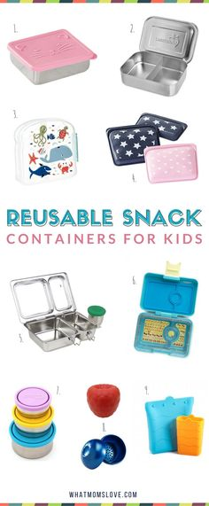 Best Reusable Snack Containers for Kids | Fun school lunch ideas including bento boxes, stainless steel, supplies and tools for packing a healthy lunch for picky eaters, kindergartners, grade schoolers and teens | Back to School Guide
