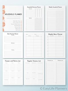 HOUSEHOLD Planner Erin Condren Insert Happy Planner Pages Cleaning Checklist and Schedule PDF House routine Instant download 9 pages