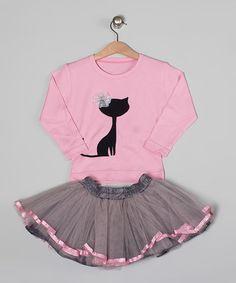 Look what I found on #zulily! Pink Cat Appliqué Tee & Gray Tutu - Toddler & Girls #zulilyfinds