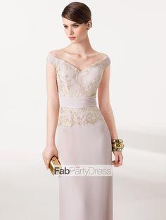 Sheath / Column Lace Satin Prom Dresses / Evening Dresses