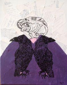 Combinatie van Oost-Indische inkt, acrylverf en collage. Gemaakt voor Samantha, die houdt van Geschiedenis, Raven en poezen Juni 2016